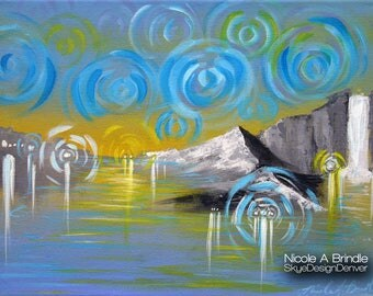 "Glimpse - Fantasy Art  11"" x 14"" Mixed Media on Canvas"