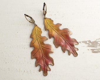 Oak Leaf Earrings - Hand Painted Jewelry - Autumn Jewelry - Nature Jewelry - Vintage Style Patina Earrings - Patina Jewelry Autumn Earrings
