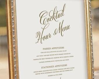 Wedding Bar Menu, Printable Wedding Reception Sign, digital PDF file