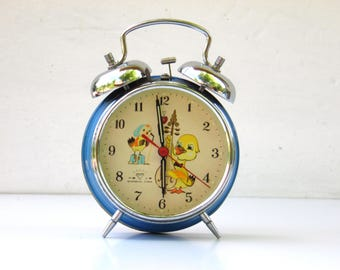 Vintage Silver Mechanical Alarm Clock - Made in China