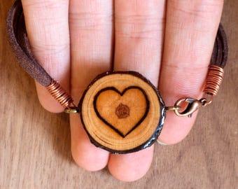 Boho Heart Bracelet, Heart Bracelet, Heart Jewelry, Wood Heart Bracelet, Bohemian Bracelet, Layered Heart Bracelet, Wood Slice Bracelet