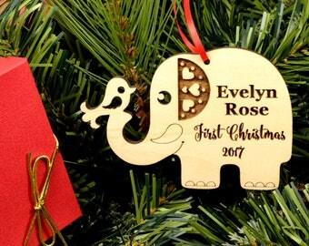 Baby's First Christmas Ornament  Personalized Wooden Ornament  Wood Elephant Ornament New Baby Gift Keepsake Nursery Decor