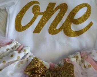 First birthday outfit, ONE baby shirt, pink, peachy and gold set, birthday tutu