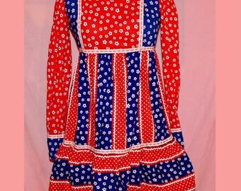 70s Bicentennial 4th of July patriotic hippie/folk micro mini dress