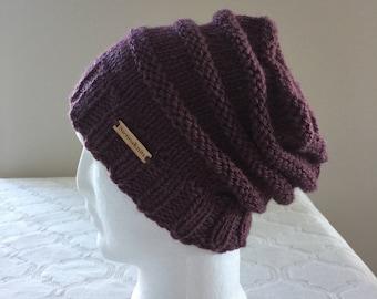 Purple (plum) wool and alpaca women slouchy handmade knitted beanie, purple knit beanie, women knit hat, slouchy knitted beanie.