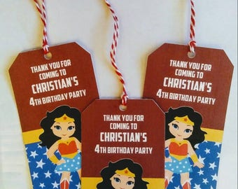 Wonder Woman Party Favor Tags, Personalized, 10 ct