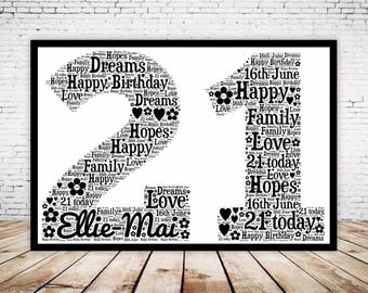 Personalised Word Art Gift Framed 21st Birthday Wedding Anniversary Mum Daughter Son Auntie Sister Friend Brother Uncle