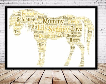 Personalised Word Art Gift Framed Horse Lover Horse Riding, Show Jumping Birthday Son Daughter Auntie Sister