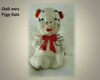 Vintage circa 1940s, Old Carnival Chalkware Piggy Bank