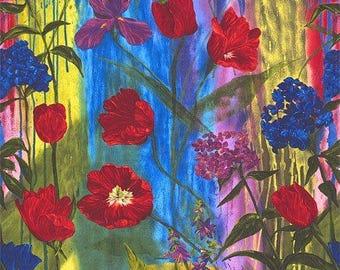 Tulips, Iris, Hydrangea Blooms Una's Garden Fabric Panel Frond Design Studio Free Post