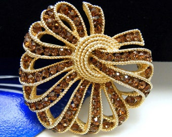 Vintage Crown Trifari Rhinestone Brooch Brown Cavalcade Line