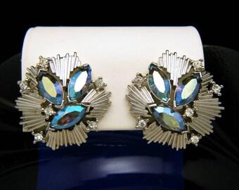 Vintage Crown Trifari AB Rhinestone Earrings Silver Tone Clip Ons