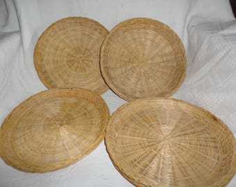 Wicker Paper Plate Holders Lot Of 8 Picnic Buffets Camping Party Supplies