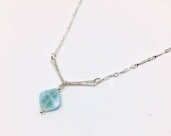 Larimar Necklace - Larimar Jewelry - rare gemstone jewelry - Larimar Pendant - Sterling Necklace - Larimar Gift - Simply Larimar