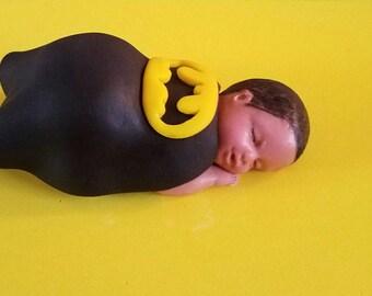 Fondant Batman theme baby cake topper