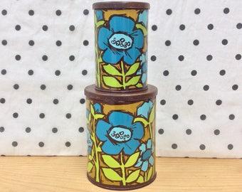 Vintage mod flower print canisters