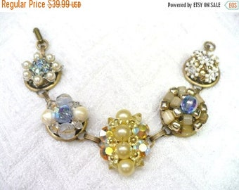 35% OFF SALE Vintage Earring Bracelet - WEDDING - blues/rhinestone/beige/cream/yellow Aurora Borealis-  gift for the Bride or bridesmaid Gif