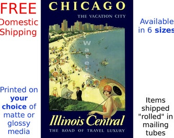 "Illinois Central RR - ""Chicago, Vaction City"" - Vintage Railroad Travel Poster (265138361)"
