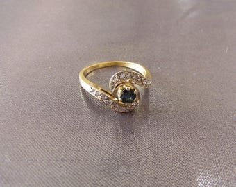 Vintage French 18k Gold Sapphires Diamonds Ring, 18k Classical Ring , Diamonds sapphires Ring
