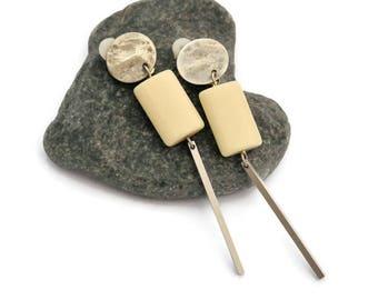 Silver drop earrings, Clip on Dangle Earrings, Long silver earrings, Modern earring, Geometric, Bar earrings, Stick earrings,  Gift for her