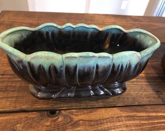 Vintage turquoise and brown drip, salt glazed pottery planter.