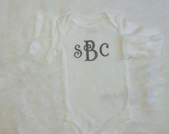 Newborn Grey Monogram Bodysuit. Baby Monogram Bodysuit. Gender Neutral.  Baby Shower Gift. Embroidered Monogram