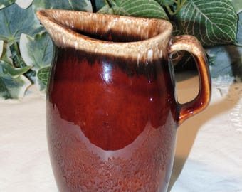 Hull Creamer Pitcher, Brown Drip Glaze, Vintage Hull Pottery, Mid-Century Kitchen, Brown and Beige, Hull Oven Proof