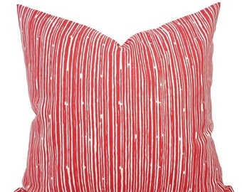 15% OFF SALE Two Coral Throw Pillows - Pillows - Coral Stripe Decorative Throw Pillows - Couch Pillows - Accent Pillow - Coral Pillows