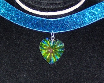 G Heliotrope Handmade Choker with Blue Ribbon and Aurora Borealis Heart with Silver Tone Chain and Lobster Clasp