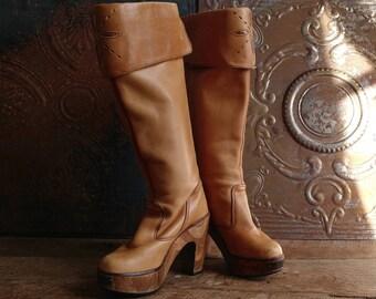 Vintage Zodiac Wooden Platform Boots