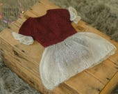 Newborn Valentine's Day Girl Romper - Newborn Girl Open Back Romper - Valentine Ruffle Skirt Romper - Newborn Girl Valentine Romper - RTS