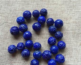 8mm Lapis Lazuli Beads, Natural Genuine Lapis Lazuli Beads, Carved Beads, Round Stone Beads 8mm 9mm 10mm 12mm 1 PC