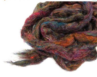 SALE Pulled Tussah Silk Roving, color: Multi Mix