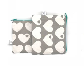 Mini zipper pouch Hearts grey