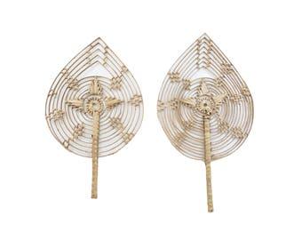 Vintage Natural Straw Rattan Palm Leaf Hand Fan Set of 2