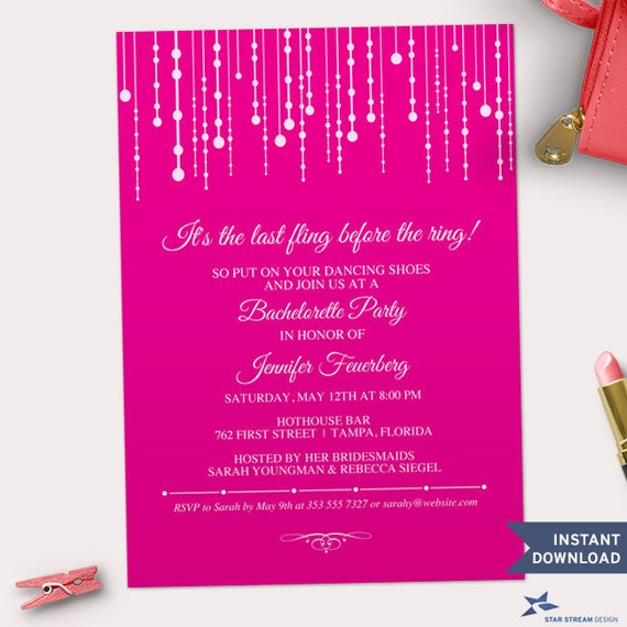 Printable Hanging Fairy Lights Bachelorette Party Hens Night Pink ...