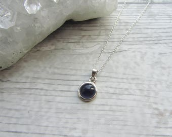 Small Iolite Pendant - 925 Sterling Silver Pendant Necklace Natural - Gemstone Cabochon Set