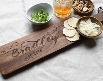 Walnut Wood Engraved Bread Board. Wedding Gift for Couple. Cheese Board Wood Long.