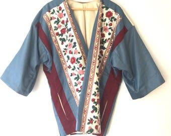 Vintage quilted patchwork oversized kimono blazer floral jacket