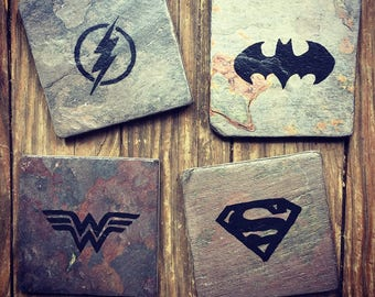 DC Comic Superhero Coasters - Set of 4