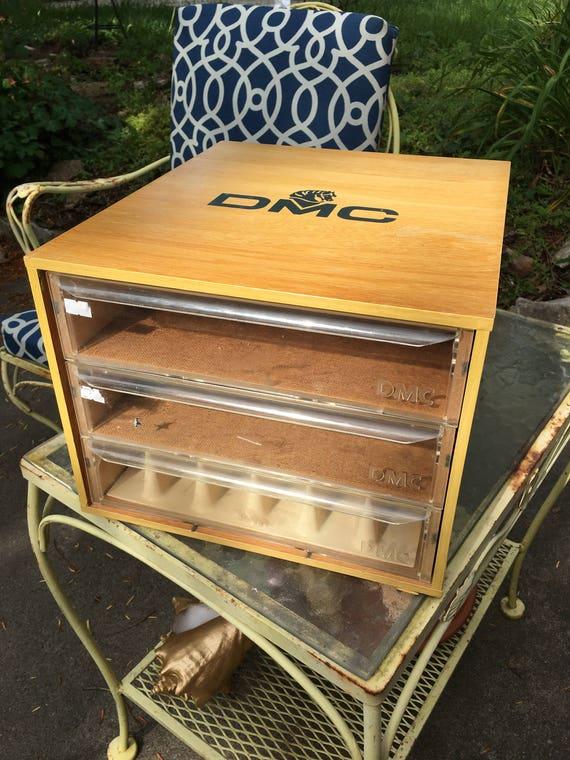 Dmc Floss Thread Oak Spool Cabinet Three Drawers Store Display