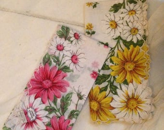GoingOutOfBusinessSale vintage hand printed cotton Handkerchiefs,Pink Daisy,Yellow Daisy,summer daisies,embroidered edging,summer weddings,g