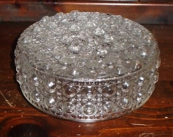 LARGE Clear Vintage Fancy Button Bubble Glass Globe Shade for Light Fixture~ 5 1/8in fitter rim