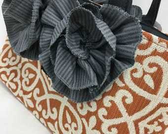 Deep Orange and Cream Woven Print BAGOLITA with Steal Blue Ruffles | NEW Birdie Size!