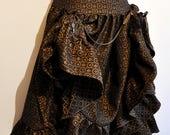 Jupe Boheme steam motifs dorée bleu/noir