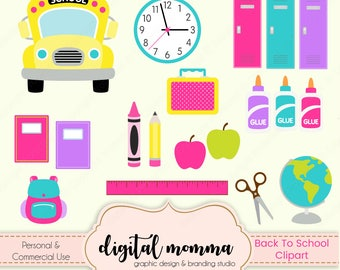 School Days Clipart Set, School Bus Clipart, Back To School Clip Art, .PNG, Instant Download!