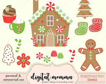 Sweet Gingerbread Boy Clipart Set, Gingerbread House Clipart, Christmas Sweets Clipart, .PNG, Personal & Commercial Use, Instant Download!