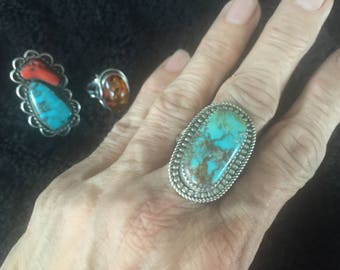 """12 grams - Signed """"HJY"""" Sterling Silver Ring with Royston Turquoise size 11"""