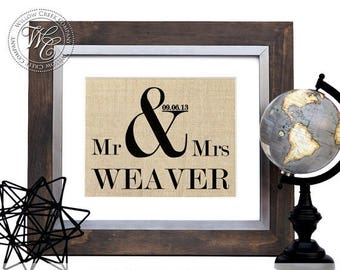 Ampersand Sign, & sign, Personalized Wedding Gift, Ampersand Burlap Print, Wedding Date, Mr and Mrs Sign, Burlap Wedding Decor, Our Wedding