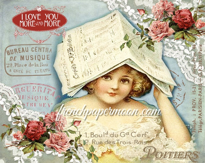 Adorable Victorian Valentine digital, Shabby Roses, French graphics, Cupid, Valentine Pillow Image, Large Size, Graphic Transfer, Crafts